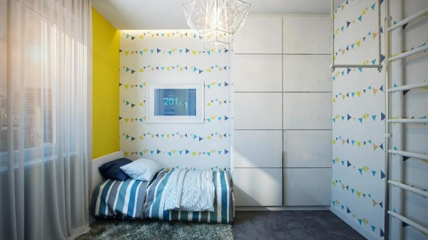 The children's bedroom is the most colorful in the apartment and makes good use of a small space by keeping furniture simple with a small bed and desk for homework. There is even room to play with the added jungle gym equipment which would be a child's dream come true.