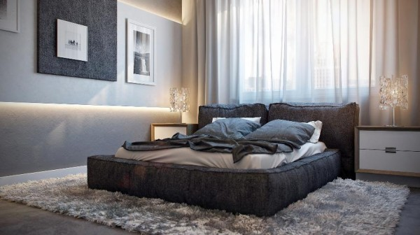 plush bed large bedroom